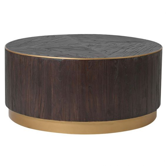 Elm and brushed copper coffee table