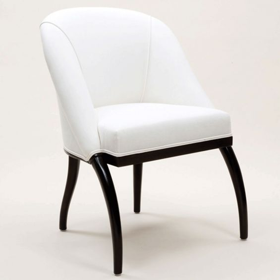 Semi-circular back tub style arm chair with arched legs