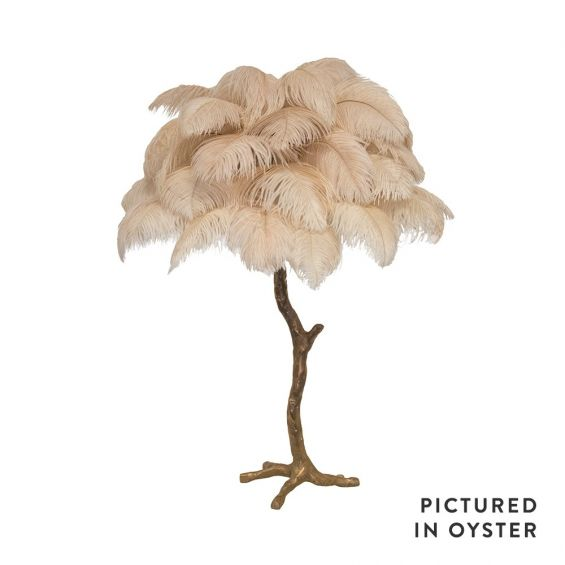 Mini ostrich feather lamp in oyster pink with a bronze base
