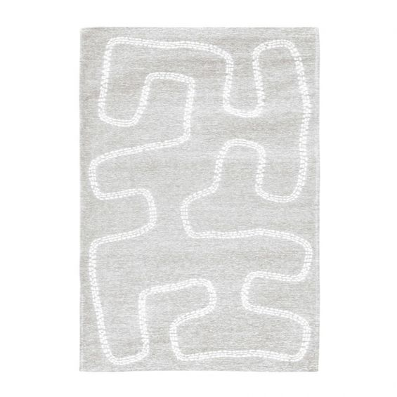 Light grey cotton flat weave rug with white abstract lines