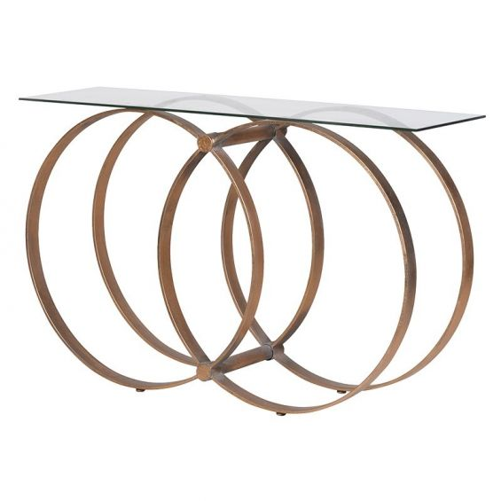 Glass tabletop, iron multi-hooped base console table