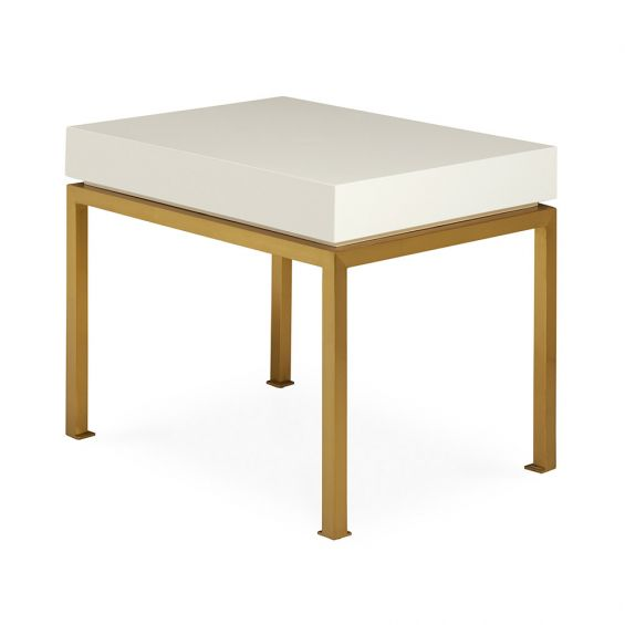 A luxurious short ming-inspired side table with white lacquer and brass