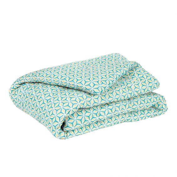 geometric floral turquoise and yellow bedspread
