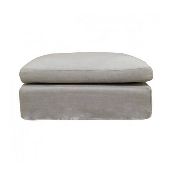 A minimalist beige pouffe with a removable cover