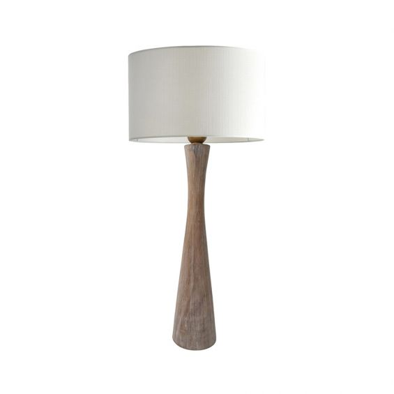 Stylish bleached mango wood table lamp with white lampshade