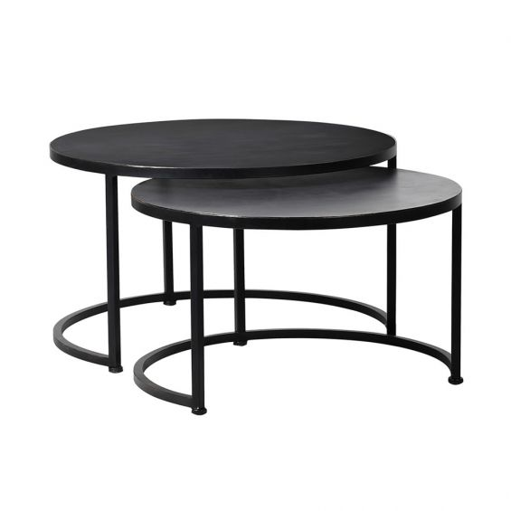 Set of 2 modern round side/coffee tables
