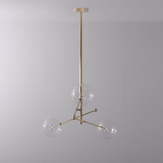 Natural brushed brass industrial style 3 arm chandelier with clear glass globe bulbs