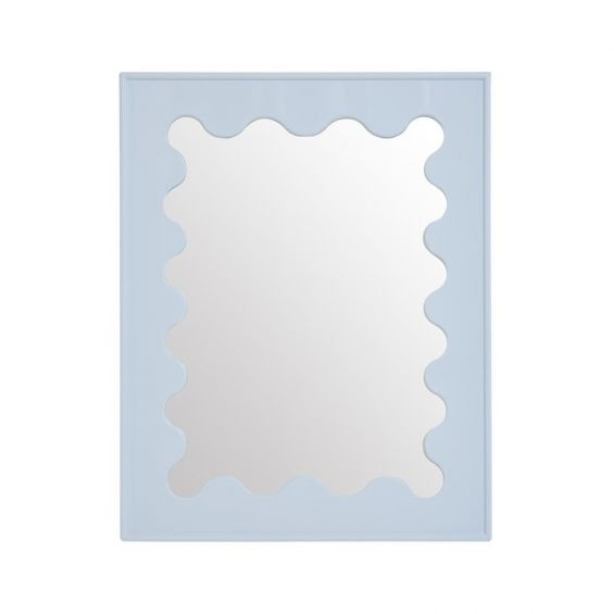Glamorous glossy blue framed mirror with a  ripple design