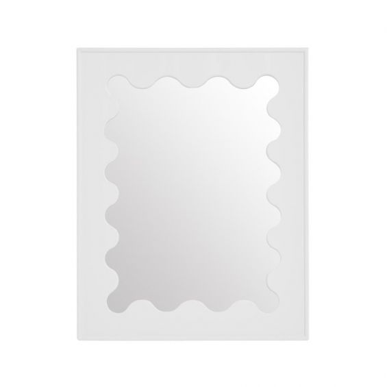 Glamorous white ripple effect mirror with high-gloss finish