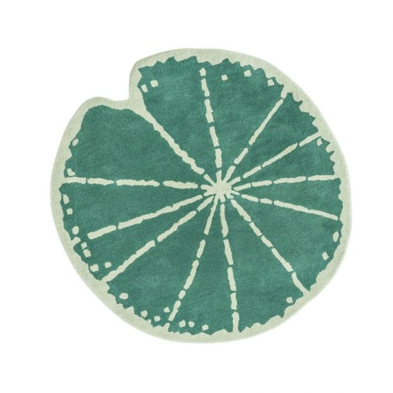 Hand-tufted lily pad wool rug in light and dark green