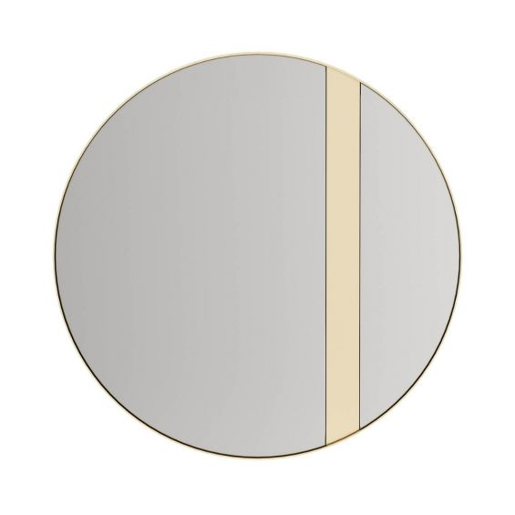 Large round bronze mirror with gold stainless steel frame and added detail
