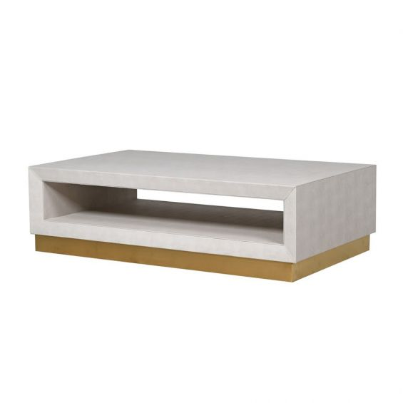 Modern shagreen coffee table with golden base