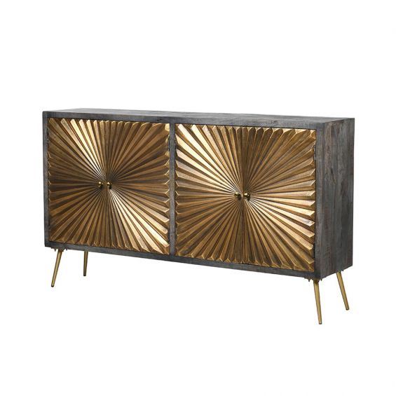 a stylish wooden starburst sideboard with antiqued brass accents
