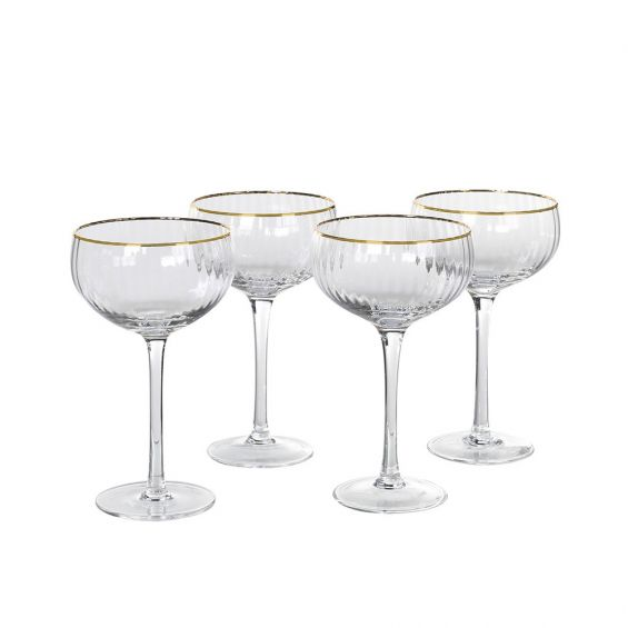 A fabulous set of 8 glass champagne glasses with golden details
