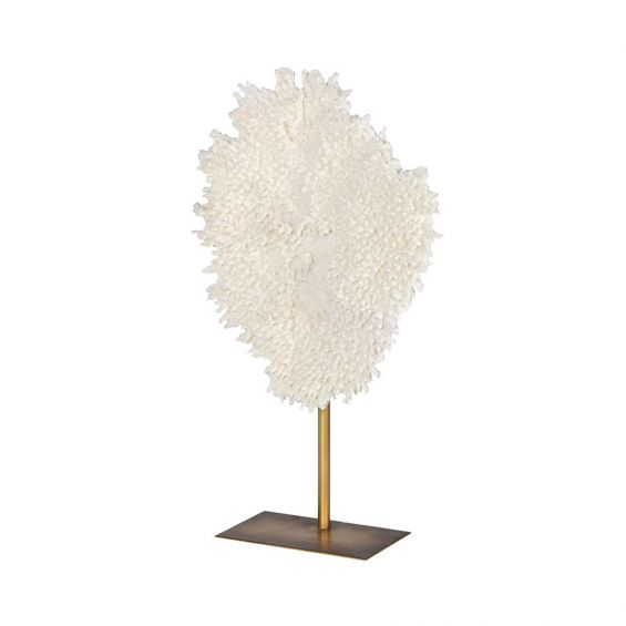 small white coral sculpture with gold stand