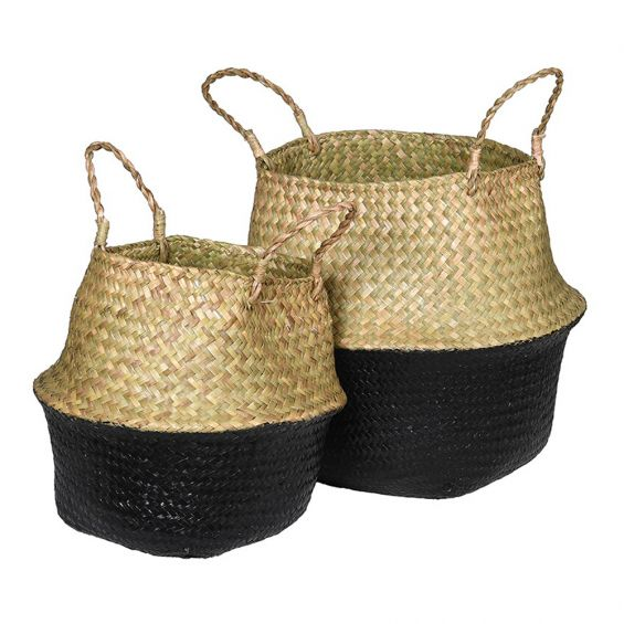 Natural and black woven seagrass baskets set of 2