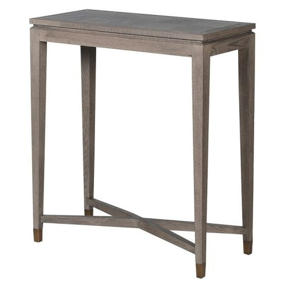 Small, wooden, cross-legged console table