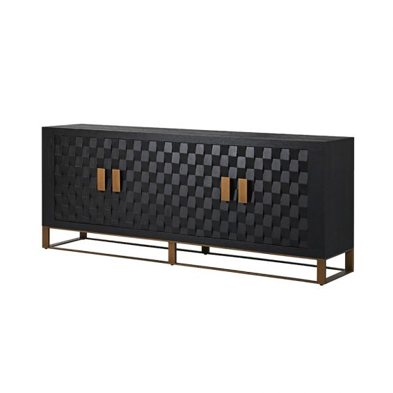 dark brown sideboard with bronze base and handles