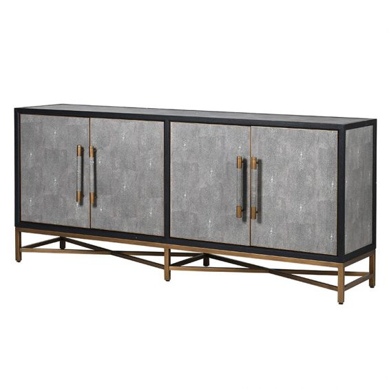 grey shagreen sideboard with a black finish and brass details