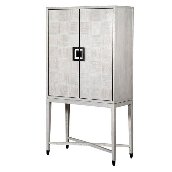 Contemporary white cotton canvas 2 door bar cabinet made from oak veneer