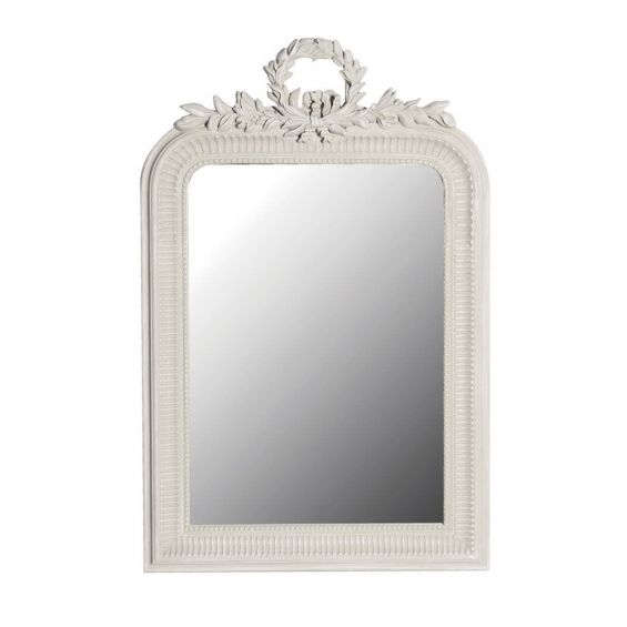Classic French-style cream crest mirror