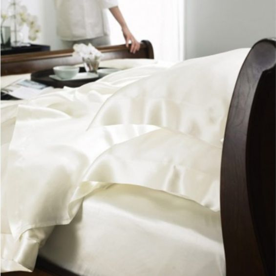 Luxury pure silk ivory bed linen sheets