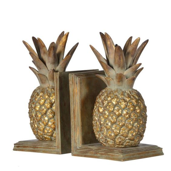 Decorative gold pineapple bookends