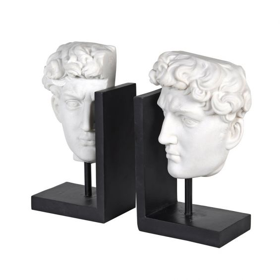 A stylish black and white ancient Greek-inspired ceramic bookends