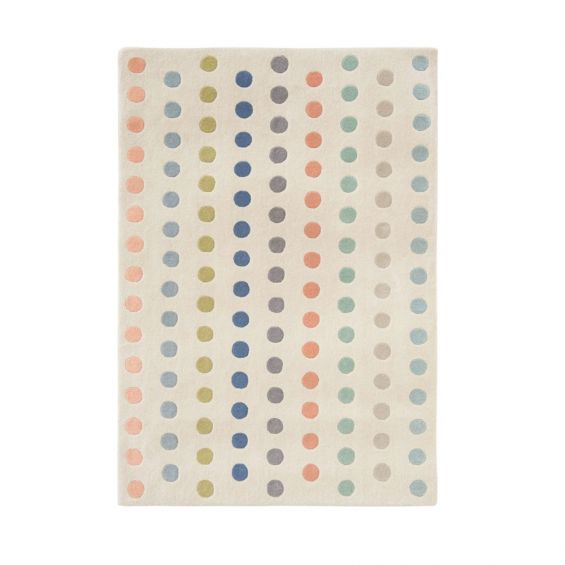 Cream wool rug with pastel coloured dots