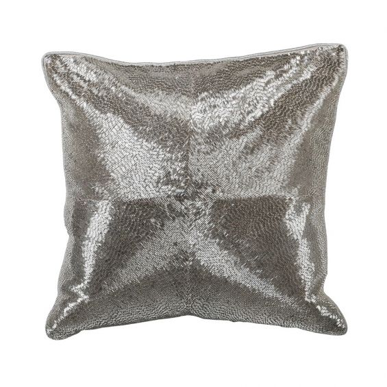 silver hand-embroidered cushion with sequins