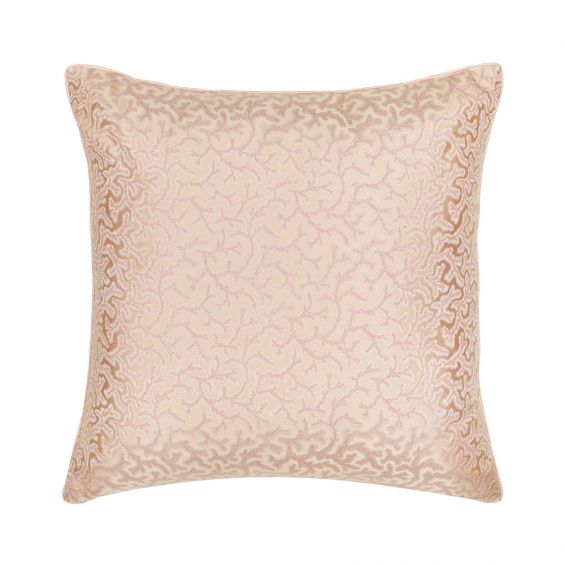 Coral Fern Silk Square Cushion – Piped - Pink