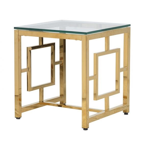 Art deco gold side table with clear glass table top and geometric design