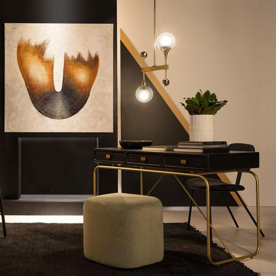 Luxurious modern black wooden desk with golden metal frame and handles