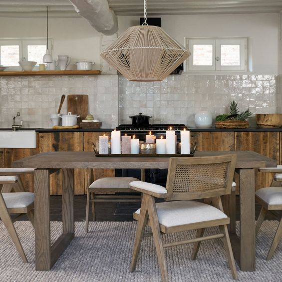 A luxurious weathered natural oak dining table
