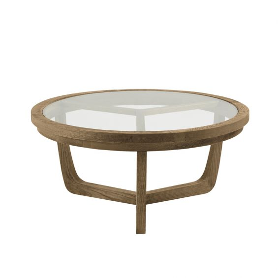 Natural wooden circular coffee table with glass table top