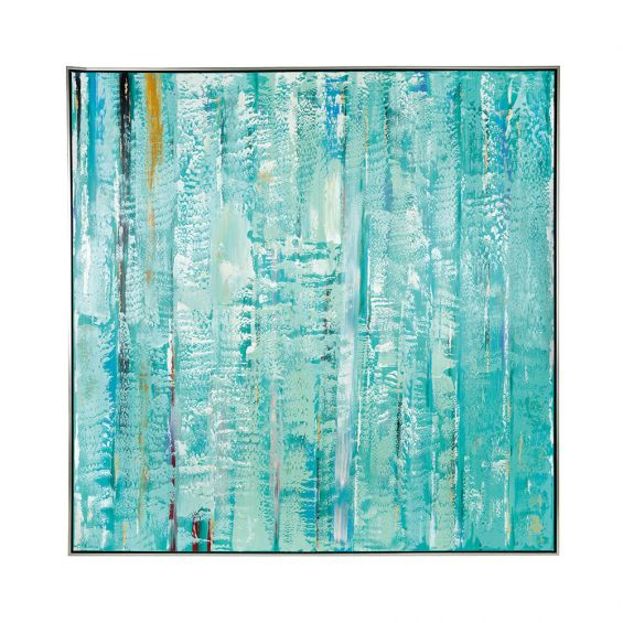 a blue abstract water acrylic painting