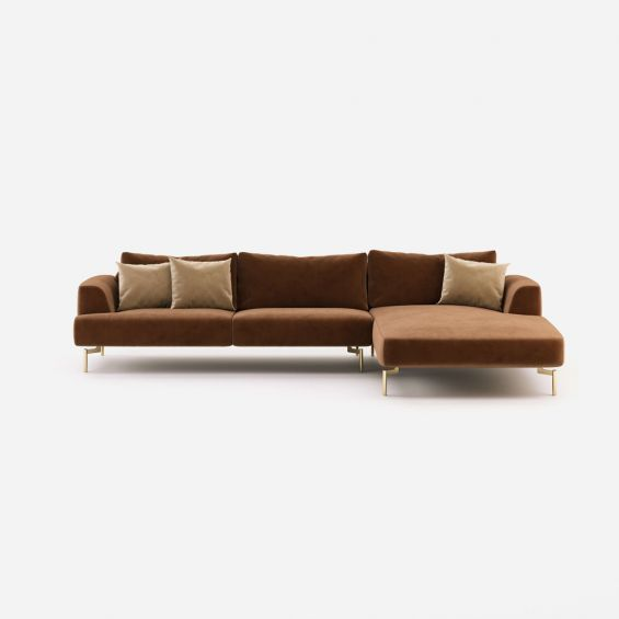 Modern luxury velvet, chaise longue style sofa with golden accents