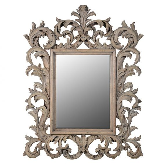 French-style, carved wood decorative mirror