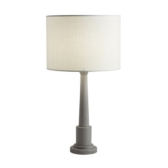 Classic mango wood table lamp in cement finish