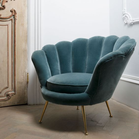 Turquoise art-deco inspired chair with shell design back and gold legs