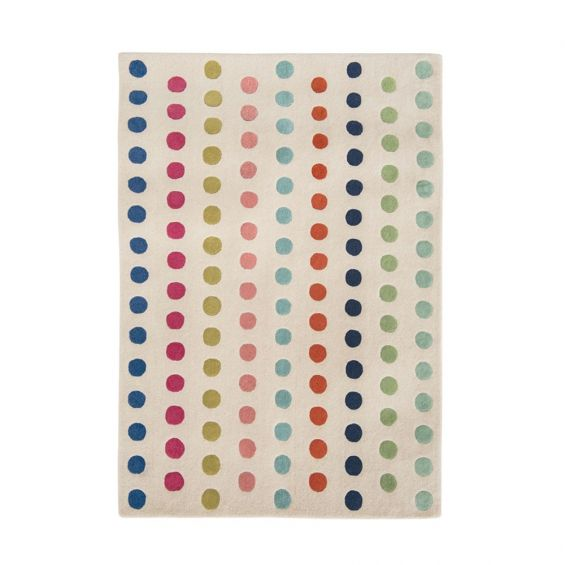 Cream wool rug with multi-coloured dots