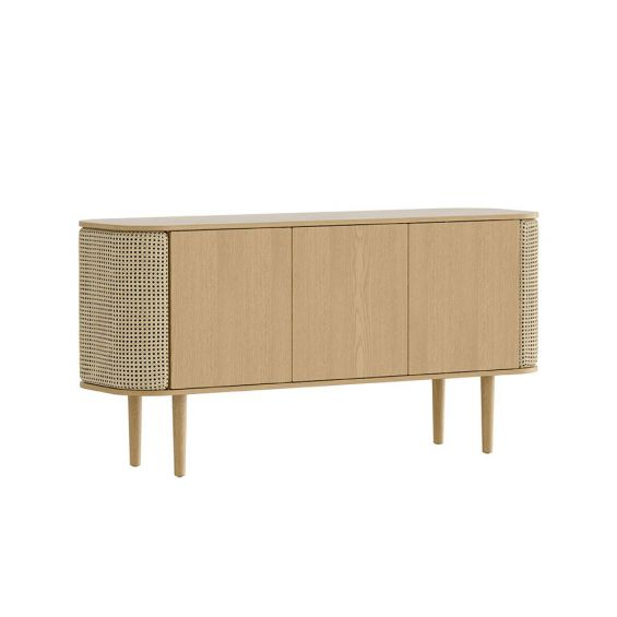 A gorgeous natural oak and cane 3-door cabinet with rattan detailing