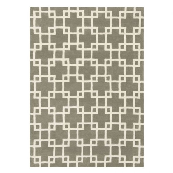 Hand-tufted interlocking square designed patterned wool rug in brown