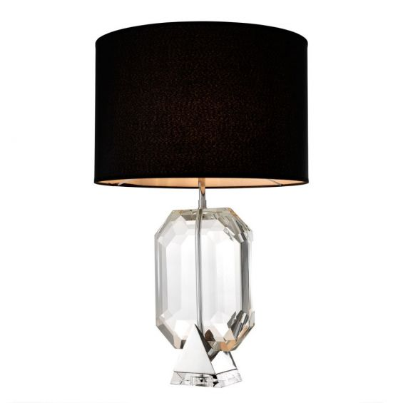 Glistening clear crystal glass table lamp with black suede shade on nickel base