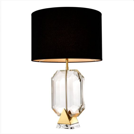 Glistening clear crystal glass table lamp with black suede shade on gold base
