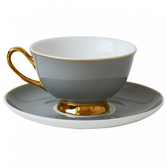 Dove grey teacup and saucer with gold detailing