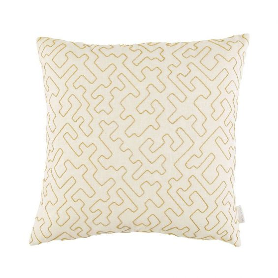 Decorative cream and mustard embroidered cushion