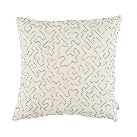 Decorative cream and blue embroidered cushion