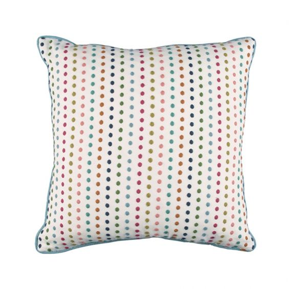 Bright multi-coloured cushion with dotted embroidery design
