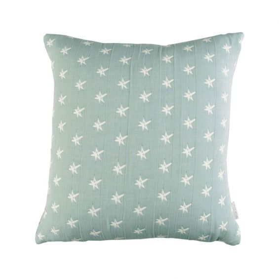 Cream and blue star patterned cushion